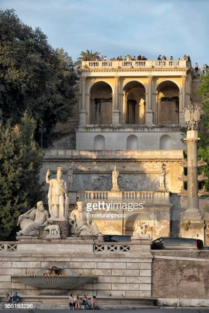 the fountain of the goddess roma with pincio terrace above it,rome. - emreturanphoto stock pictures, royalty-free photos & images