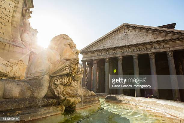 the fountain of the pantheon and pantheon in rome, italy - pantheon rome - fotografias e filmes do acervo