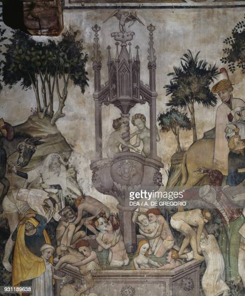The Fountain of Youth detail from fresco of the Fountain of Youth in the Baronial Hall Castle of Manta Saluzzo Piedmont Italy 15th century