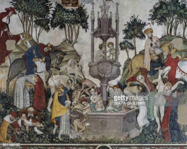 The Fountain of Youth detail from the Fountain of Youth fresco in the Baronial Hall Castle of Manta Saluzzo Piedmont Italy 15th century