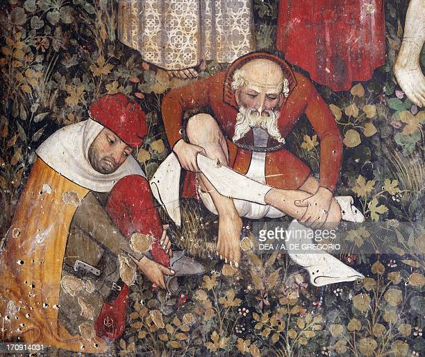 The fountain of youth detail of 15th century fresco Castle of Manta Saluzzo Piedmont Italy