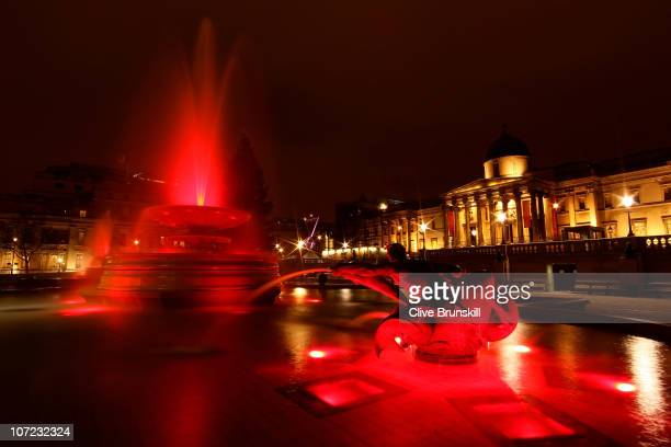 The fountains at Trafalgar Square turn on World AIDS Day to support an AIDS Free Generation by 2015 on December 1 2010 in London England More than 80...