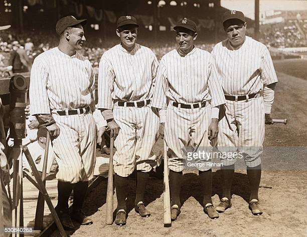 The Four Big Hitters Of The Yankees New York City Left to right Lou Gehrig 1st base Earl Combs center field Tony Lazzeri 3rd base and the one and...