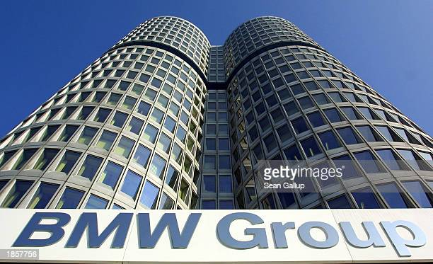 The 'Four Cylinders' towers of German carmaker BMW Group world headquarters are pictured March 19 2003 in Munich Germany BMW posted record sales and...