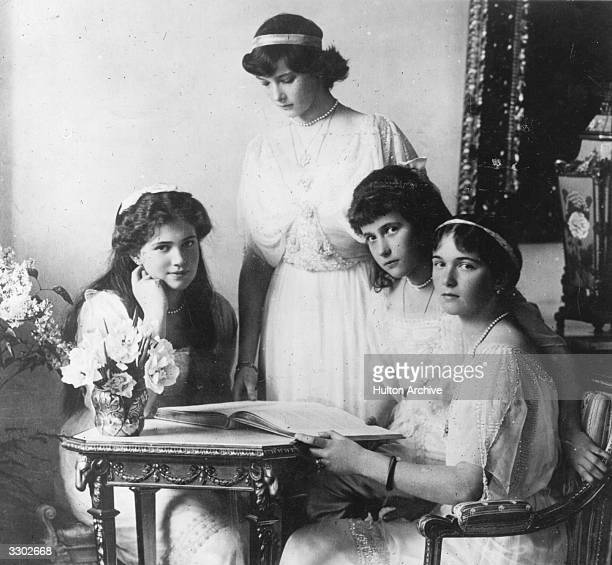 The four daughers of Nicholas II Emperor of Russia From left Grand Duchess Marie Grand Duchess Tatiana Grand Duchess Anastasia and Grand Duchess Olga...