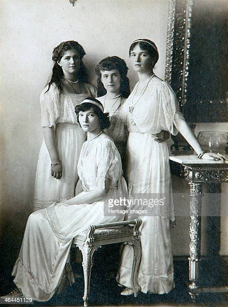 The four daughters of Tsar Nicholas II of Russia 1910s Grand Duchesses Olga Tatiana Maria and Anastasia of Russia in the sittingroom All four were...