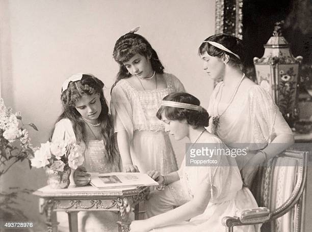 The four daughters of Tsar Nicholas II of Russia the Grand Duchesses Olga Tatiana Maria and Anastasia Nikolaevna circa 1915