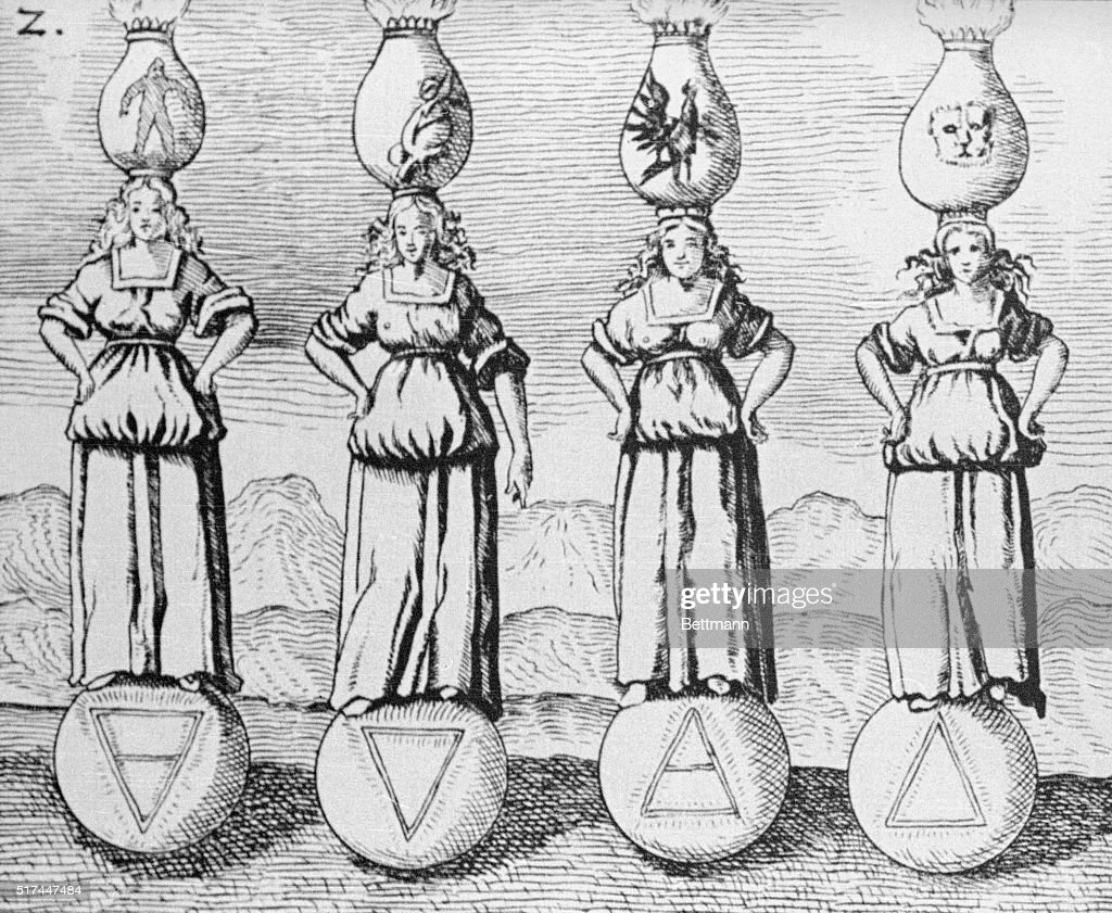 17th Century Engraving Of The Symbols Of Four Elements Pictures