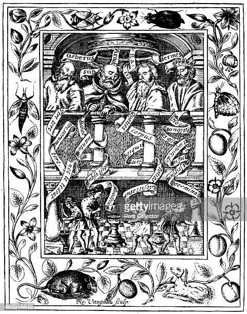 The four great alchemists 1652 From left to right AlJabir Arnald or Arnold of Villanova Rhazes the legendary Hermes Trismegistes They are portrayed...
