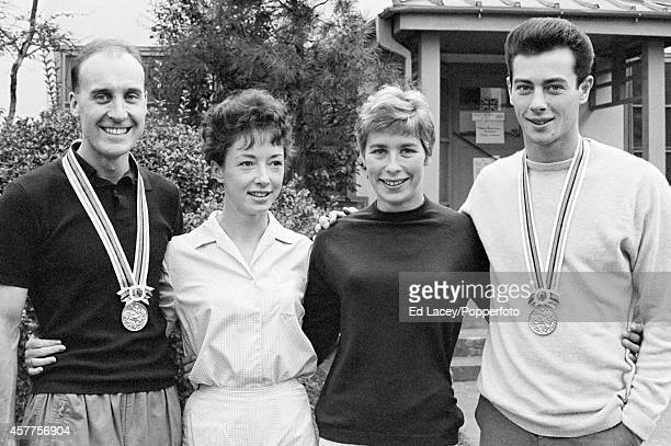 The four Great Britain athletics gold medallists left to right Ken Matthews Ann Packer Mary Rand and Lynn Davies during the 1964 Summer Olympics in...