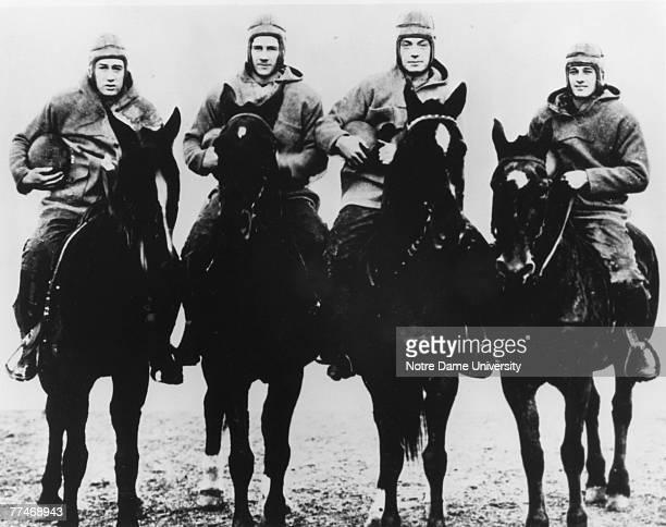 The Four Horsemen of Notre Dame, quarterback Harry Stuhldreher, fullback Elmer Leyden, left halfback Jim Crowley, and right hafback Don Miller....