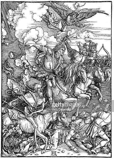 The Four Horsemen of the Apocalypse 1498 Illustration of the Revelation of St John from the Bible An Archangel watches as four agents of destruction...
