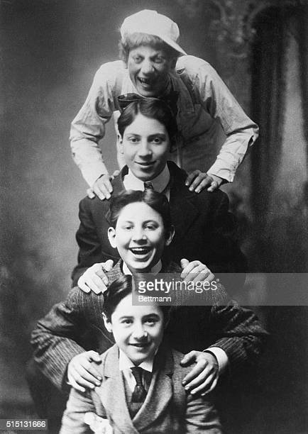 The Four Original Marx Brothers as they toured the vaudeville stage as the Four Nightingales Top to bottom Groucho Harpo Gummo and Leo Levin