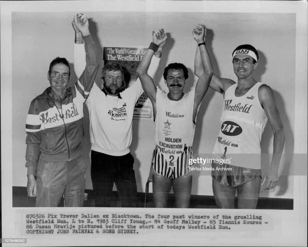 The four past winner of the gruelling Westfield Run. L to R. 1983 Cliff Young. - 84 Geoff Melloy - 85 Yiannis Kouros - 86 Dusan Mravlje pictured before the start of todays Westfield Run. : News Photo