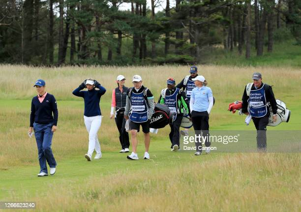 The four players in the sudden death playoff Azahara Munoz of Spain Emily Kristine Pedersen of Denmark Cheyenne Knight of the United States and Stacy...