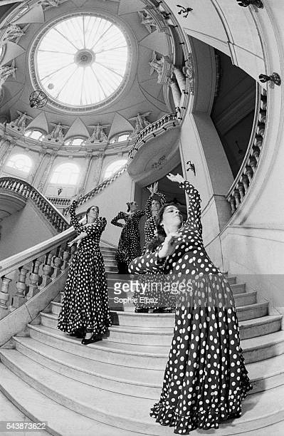 The four prime ballerinas of the Spanish ballet troupe in the theater's main staircase