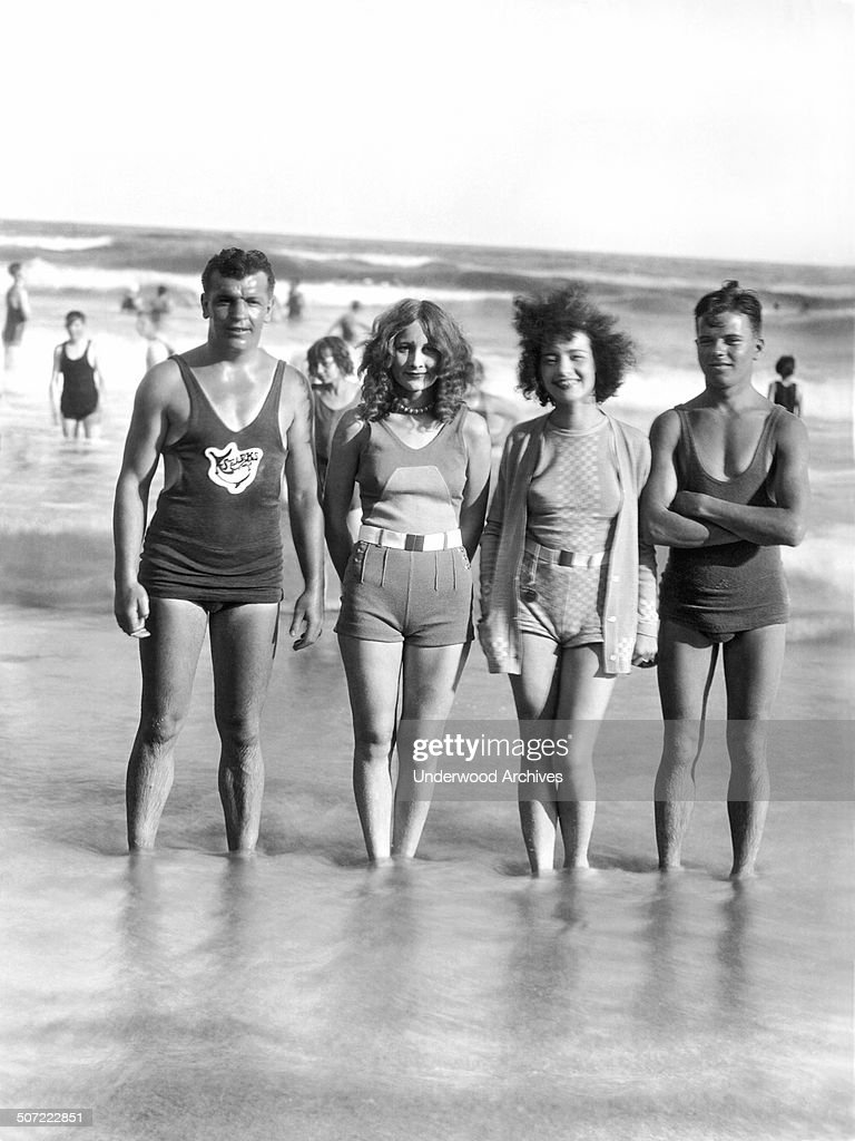 The four prize winners at the fashion parade to celebrate the official opening of the Treasure Island beach here on 'Splash Sunday', Galveston, Texas, mid to late 1920s.