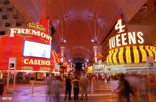 The Four Queens and Fremont Hotel and Casino are seen on May 30, 2002 in Las Vegas, Nevada.