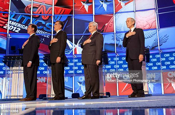 The four remaining Republican presidential candidates appear January 19, 2012 at the CNN Debate in North Charleston, South Carolina Coliseum. From...