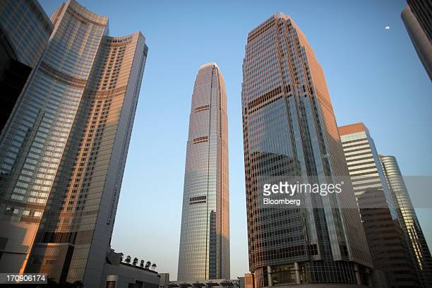 The Four Seasons hotel from left Two International Finance Centre One International Finance Centre and Exchange Square stand in the business district...