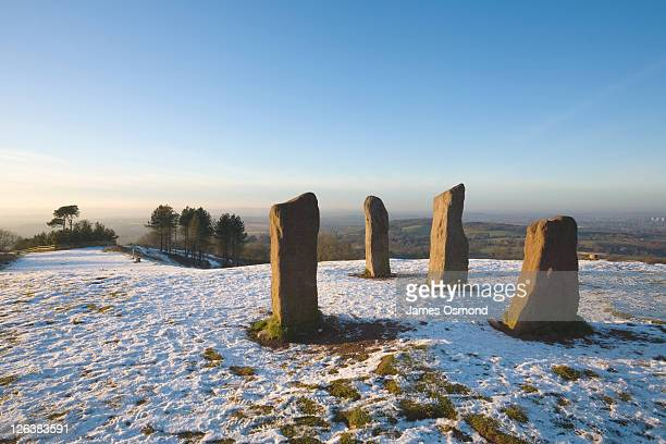 the four stones on the clent hills in winter. near birmingham. worcestershire. england. uk. - worcestershire stock photos and pictures
