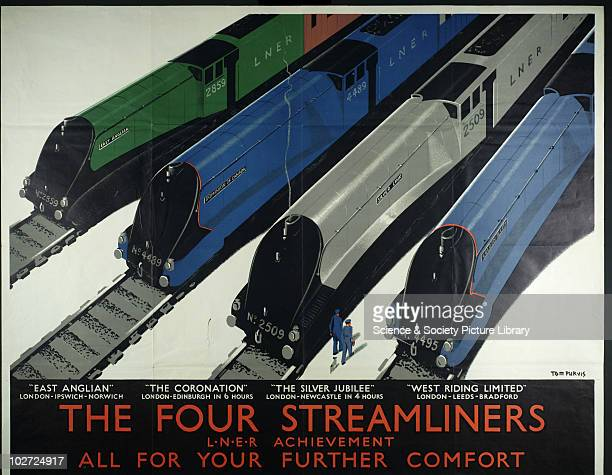 The Four Streamliners Poster London North Eastern Railway c1937 LNER Achievement all for your further comfort by Tom Purvis Four streamline expresses...