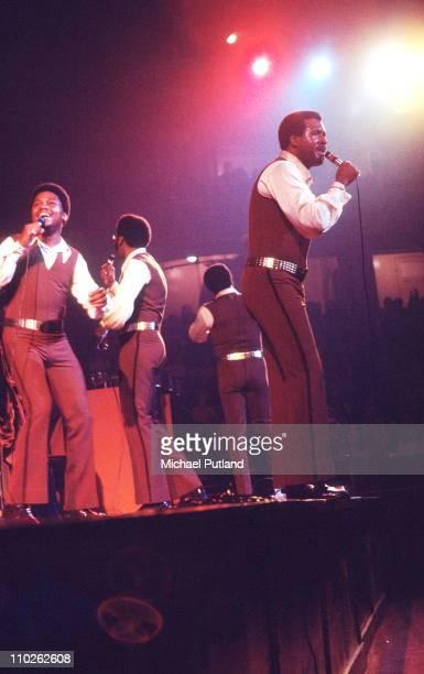 The Four Tops perform on stage London 27th October 1971 LR Renaldo 'Obie' Benson Abdul 'Duke' Fakir Lawrence Payton Levi Stubbs