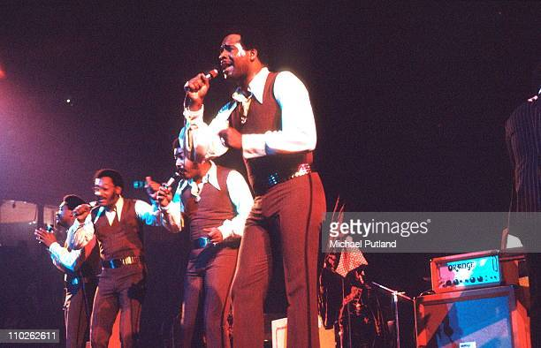 The Four Tops perform on stage London 27th October 1971 LR Renaldo 'Obie' Benson Abdul 'Duke' Fakir Lawrence Payton Levi Stubbs