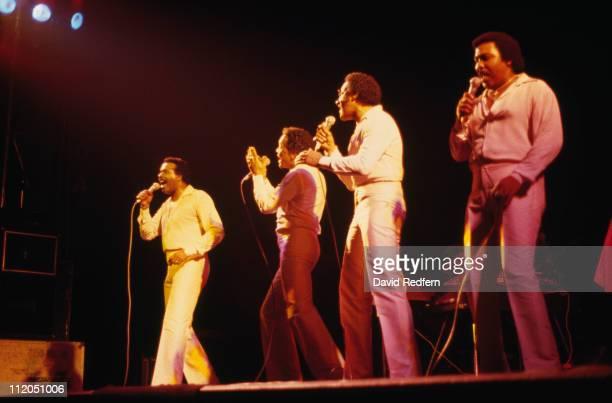 Levi Stubbs Renaldo 'Obie' Benson Abdul 'Duke' Fakir and Lawrence Payton US vocall quartet performing live on stage during a concert circa 1980