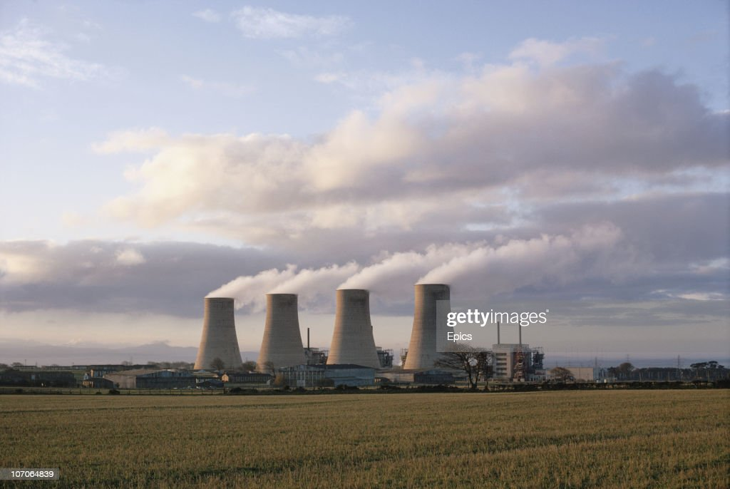 The four towers of Chaplecross atomic energy station, near Annan in Dumfries and Galloway, Scotland, November 1970.