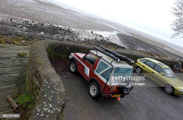 The four wheeled drive jeep belonging to the drowned man left in a car park at Priory Point Ulverston above the beach where a father and son were...