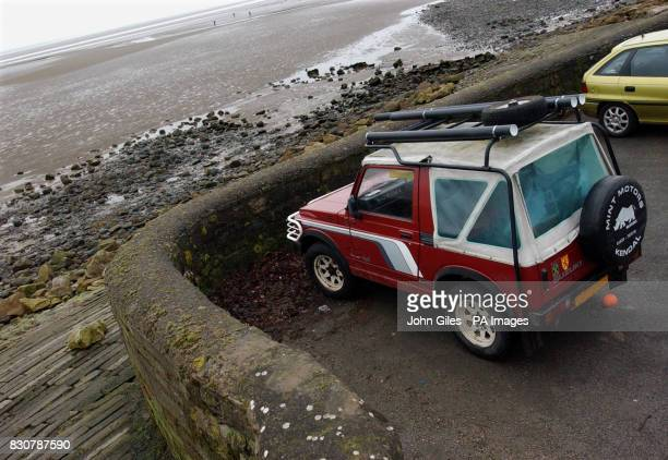 The four wheeled drive jeepbelonging to the drowned man left in a car park at Priory Point Ulverston above the beach where a father and son were...