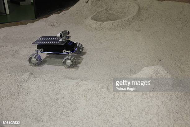 The four wheeled moon rover created by Indian startup company Team Indus is tested in a pit on October 28 2016 in Bengaluru India Rahul Narayan a...