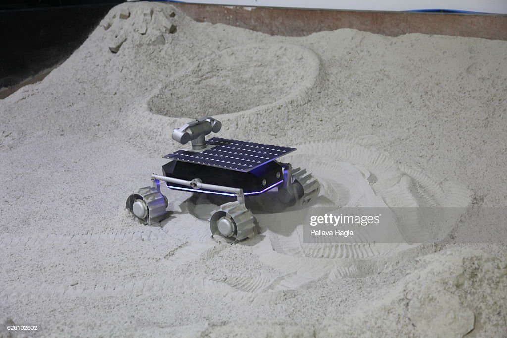 The four wheeled moon rover created by Indian start-up company Team Indus is tested in a pit on October 28, 2016 in Bengaluru, India. Rahul Narayan a software engineer and entrepreneur is leading the Indian start-up company Team Indus which is trying to reach the moon before the end of 2017 using the Indian Polar Satellite Launch Vehicle. Its sparse facilities in Bengaluru belie the energy provided by the 100 member team. The Google Lunar XPRIZE (GLXP), is an inducement prize space competition organized by XPRIZE, and sponsored by Google. The challenge calls for privately funded spaceflight teams to be the first to land a privately funded robotic spacecraft on the Moon, travel 500 meters, and transmit back high-definition video and images to win a total cash of USD 30 million.