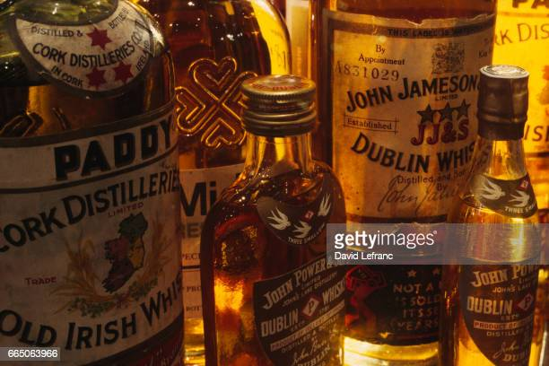 The four-leaf clover in the Irish whiskey world : Paddy, Midleton, Power and Jameson, triple distilled in four brands at the Jameson Heritage centre....