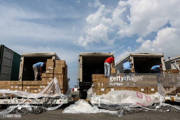 The fourth delivery of Humanitarian Technical Assistance arrives in Caracas Venezuela on May 27 2019 with 269 tons of medicines and surgical medical...