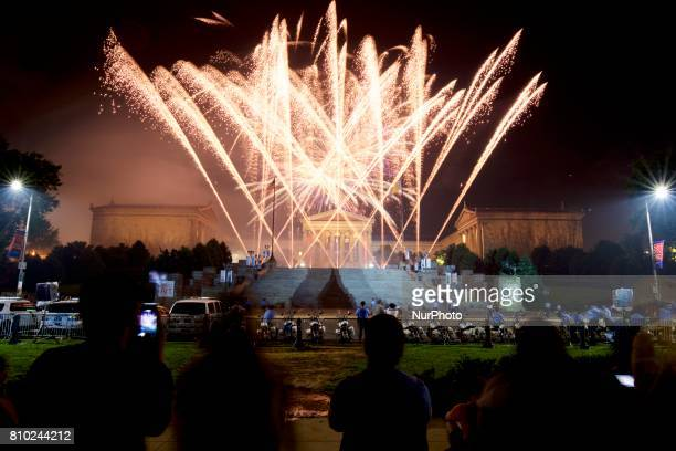 The Fourth of July Independence Day celebrations close with fireworks display over the Art Museum steps, in Philadelphia, PA, on July 4th, 2017.