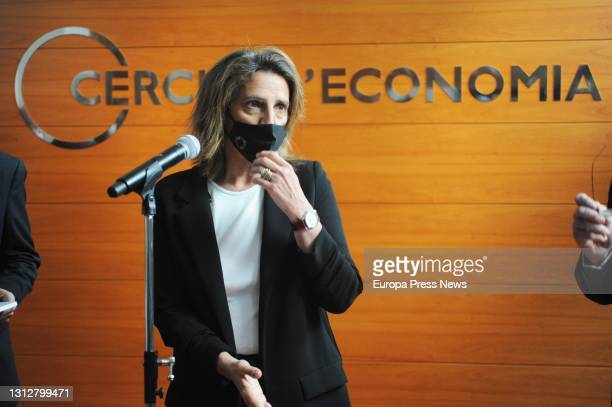 The fourth vice-president and minister for Ecological Transition of the Government, Teresa Ribera intervenes in the presentation of the document...