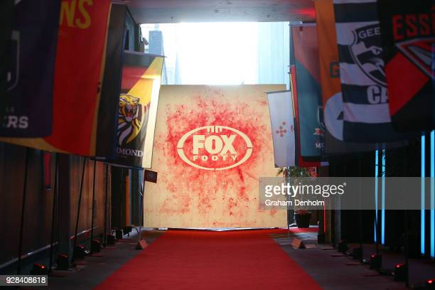 The Fox Footy logo is seen during the 2018 FOX FOOTY AFL Season Launch on March 7 2018 in Melbourne Australia