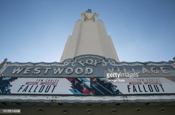 The Fox Theater Westwood marquee is viewed in Westwood Village on August 7, 2018 in Los Angeles, California. Millions of tourists flock to the Los...