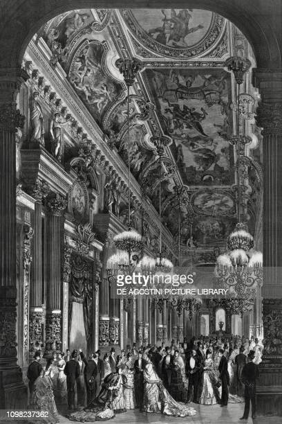 The foyer at the Opera Garnier in Paris 1875 ca illustration France 19th century