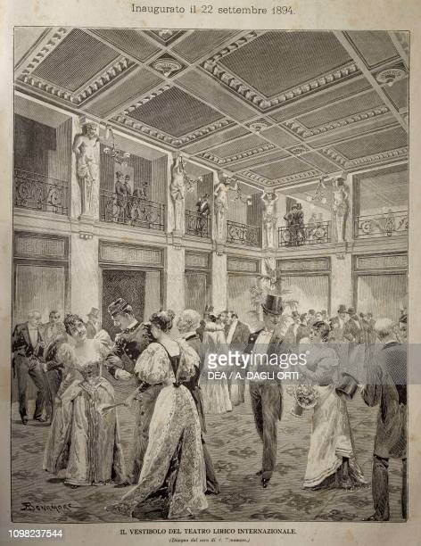 The foyer of the Teatro Lirico Internazionale in Milan on the opening day September 22 illustration Italy 19th century