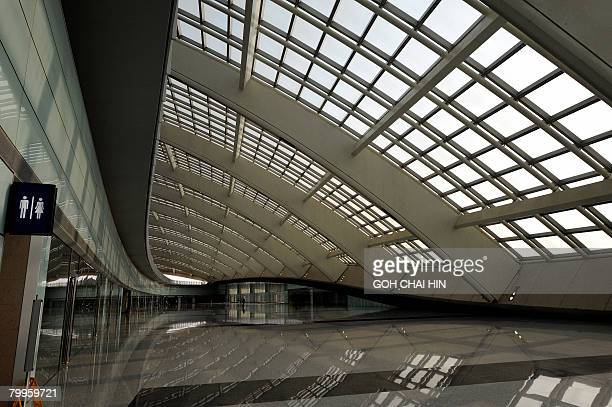 The foyer which houses the public transport hub to the new Terminal 3 of the Beijing Capital International Airport in Beijing on February 19 2008...