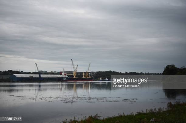 The Foyle Port situated on the banks of the River Foyle can be seen on September 14, 2020 in Londonderry, Northern Ireland. Foyle Port is the key...
