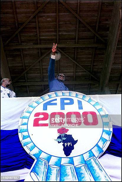 The FPI celebrates the tenth anniversary of freedom in Abidjan Cote d'Ivoire on August 06 2000 Laurent Gbagbo president of FPI