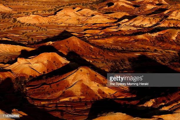 The fragile 'Painted Hills' a rock formation in the South Australian desert near the Anna Creek Station halfway between Adelaide and Alice Springs...