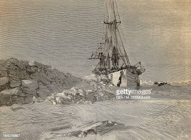 The Fram on a narrow passage through the ice engraving from The report of the Fram expedition of 18931896 by Fridtjof Nansen Arctic 19th century