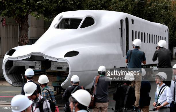 The framework of the JR Tokai's new shinkansen bullet train N700S series is seen during the press preview at the Nippon Sharyo Ltd's plant on October...