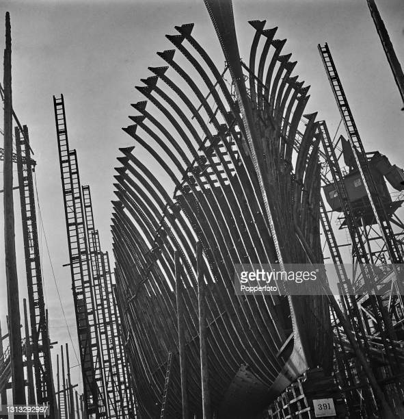 The framework ribs of a ship's hull await their steel plates to be riveted on during construction on a slipway at the Caledon shipyard in Dundee,...