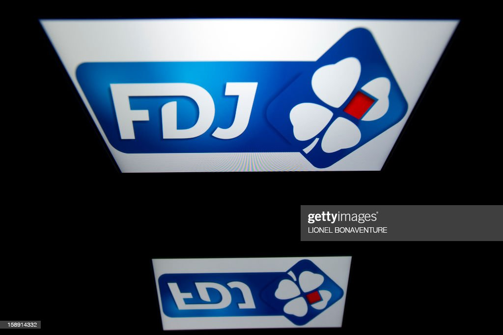 The Française des jeux (FDJ) logo is displayed on a tablet on January 3, 2013 in Paris